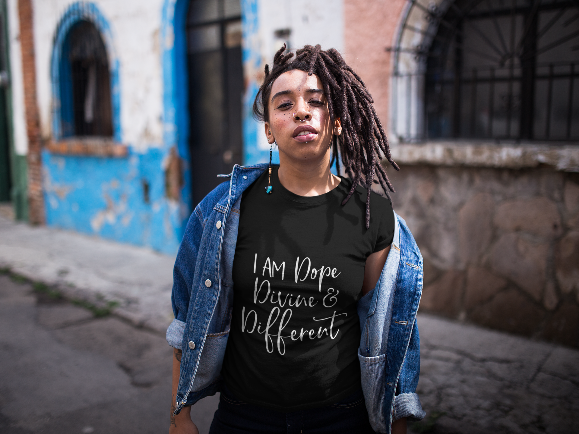 dreadlocked-girl-with-an-attitude-wearing-a-t-shirt-mockup-outdoors-a17141
